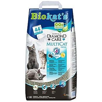 Biokat's Diamond Care Multicat Fresh, litière pour chats parfumée - Litière agglomérante sans poussière au charbon actif, parfum fleur de coton - 1sac en papier (1 x 8l)