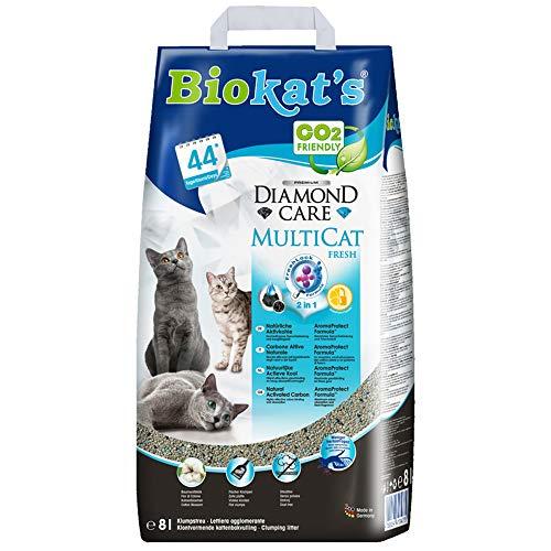 Biokat's Diamond Care MultiCat Fresh mit Duft - Feine Katzenstreu mit Aktivkohle speziell für Mehrkatzen-Haushalte - 1 Sack (1 x 8 L)