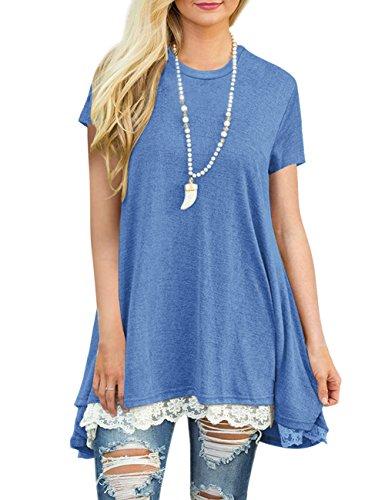 FeelinGirl Mujer Camisetas Suelta con Encaje Verano Blusa Larga Casual Azul S(Talla-38)