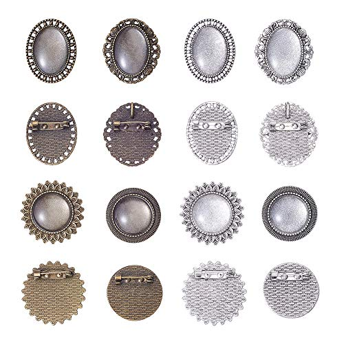 PandaHall Elite 16 Sets Pin Brooch Bezel Blanks Cabochon Setting, 16pcs 4 Style Oval Round Brooch Tray with 16pcs Glass Dome for DIY Jewelry Making