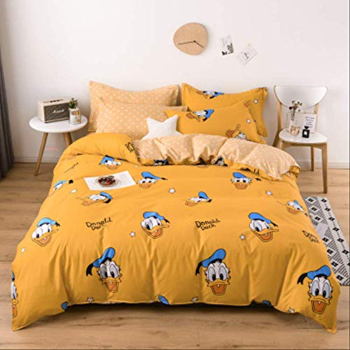 N/D Simple Brushed Aloe Cotton Four-piece Polyester Student Dormitory Three Four-piece Bed Sheet Quilt Cover Gift Bedding Pillowcase 1.2m Bed(4pcs) yellow duck