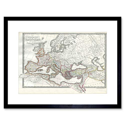 MAP 1850 ROMAN EMPIRE EAST WEST ANCIENT ROME ART FRAME PRINT PICTURE F12X007