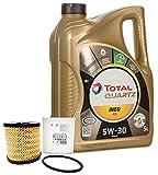 DUO Aceite Total Quartz Ineo ECS 5W-30 + filtro de aceite Original 1109CK motores gasolina 1.6,...
