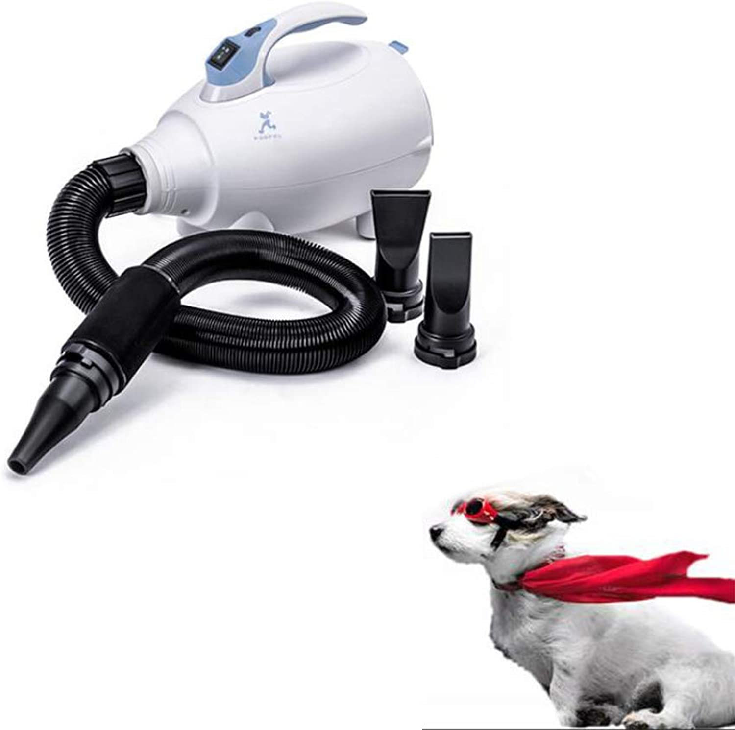 QZH Variable speed pet grooming hair dryer, stepless speed dog cat pet grooming hair dryer, pet high power large dog long hair bathing hair dryer,White
