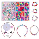 QH-Shop Abalorios perlas de resina de plástico de colores con 24 compartimentos de PVC (400 piezas) estilo étnico de colores +