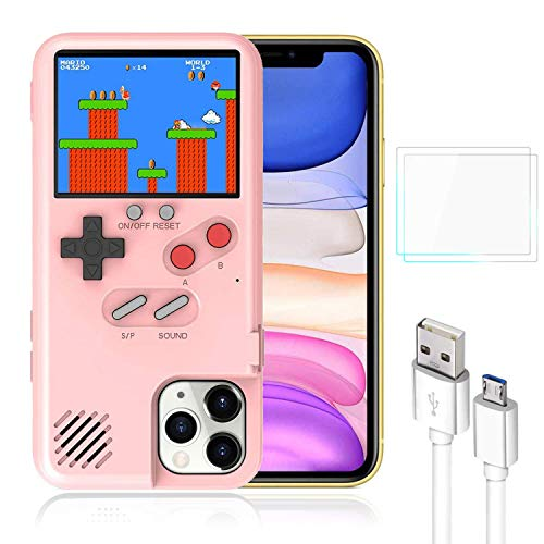 Bangting Handheld Game Console Phone case with 2 Game Screen Protector - Retro 3D Phone Protective case with 36 Classic Game - Video Game Phone Case Compatible with iPhone (Pink, iPhone 6/6S/7/8)