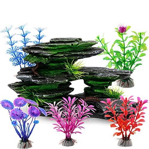 ODOOKON Ornamente für Aquarien Künstliches Gestein, Aquarium Deko Aqua Ornaments Dekoration Fuer Fisch Tank Kunststoff Dekor, 21x11x7cm, 5 dekorative künstliche Wasserpflanzen