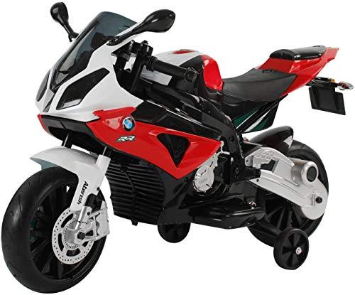 Mondial Toys MOTO ELETTRICA MOTOCICLETTA PER BAMBINI BMW RR 12V CON SEDILE IN PELLE RUOTE IN GOMMA Rosso
