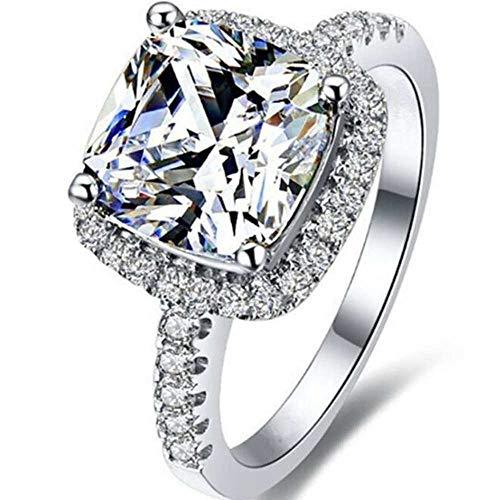 Platinum Plated 4 Carat Princess Cut CZ Simulated Diamond Wedding Engagement Proposal Ring (Silver, 9)