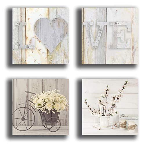 Printerland Shabby Chic - Cuadros de pared para dormitorio vintage, bicicleta con flores, 4 piezas, 30 x 30 cm, XXL, impresión de lienzo cuadro, decoración para salón, dormitorio, cocina, oficina