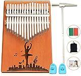 17 Teclas Kalimba Professiona Marimba Instrumento,portátil Mbira Sanza Africano Madera Dedo Pulgar Piano,Instrumento con Martillo de Afinación y Accesorios,Kalimbas para Niños Principiantes Adultos