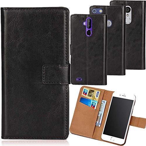 Dingshengk Schwarz Premium PU Leder Tasche Schutz Hülle Handy Hülle Wallet Cover Etui Ledertasche Für Oukitel C5 Pro 5