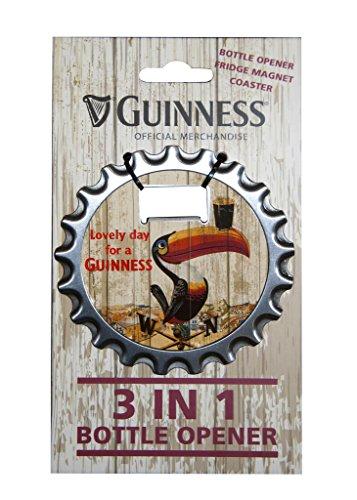 Guinness 3-in-1 Flaschenöffner, Kühlschrankmagnet und Untersetzer mit Tukan Design