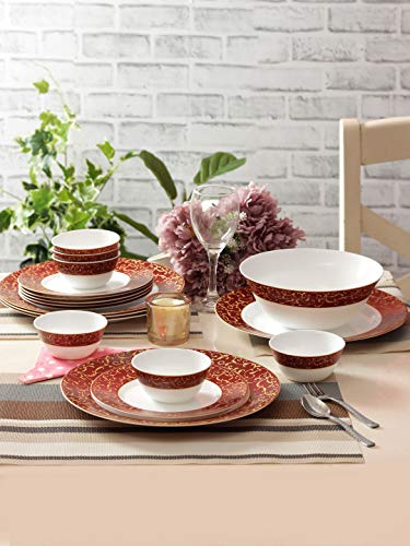 LaOpala Sovrana Opalware Dinner Set Set of 19pcs Anassa Red