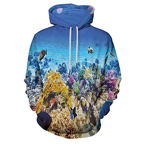 Printed Hooded Sweatshirt Ocean Decor Underwater Sea World Scene for Men/Women