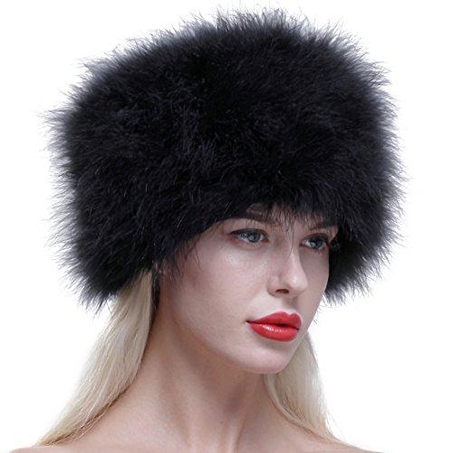 potente para casa Sombrero de piel de invierno cálido / sombrero de avestruz real, ligero, elegante y cálido