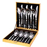MingHing Set de Cubiertos de 20 Piezas, Juego de Cubiertos de Plata,Cubiertos de Acero Inoxidable,Incluye Cuchillo/Tenedor/Cuchara/Cucharilla de Plata