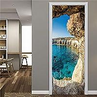 3Dドアステッカー壁画 海辺の風景3Dpvc粘着ドアステッカー家の装飾デカール