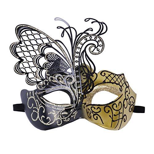 iEFiEL Máscara de Encaje Mascarada Veneciano Antifaz Sexy Máscara de Mujeres para Halloween Masquerade Carnival Party Costume Ball Fiesta de Baile Bar Partya Dorado OneSize