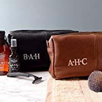Personalised Leather Effect Men's Wash Bag