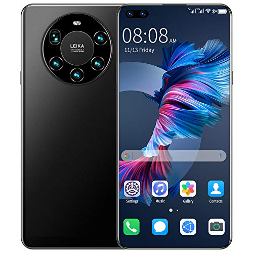 ZXLLAFT Mate45 Pro 7.2 inch Full Screen Core Smartphone 5000mAh 8GB + 256GB 24MP + 48MP 4G LTE 5G Network Mobile Phone Global Version,Face ID,Black
