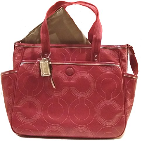 Coach Baby Bag Stitched Patent Leather Diaper Multifunction Tote Bag