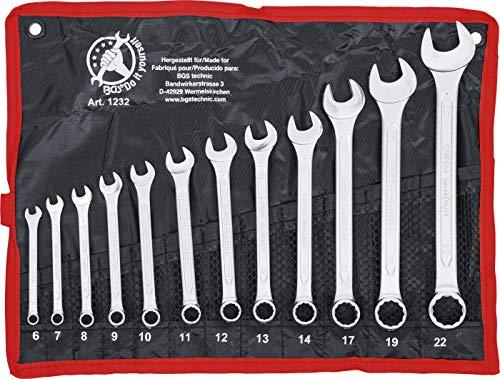 BGS Diy 1232 | Maul-Ringschlüssel-Satz | 12-tlg. | SW 6 - 22 mm | inkl. Tetron-Rolltasche | Gabelringschlüssel