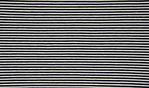 Qualitativ hochwertiger Jersey Stoff Schwarz/Weiß schmal gestreift als Meterware zum Nähen von Baby, Kinder- und Damenkleidung, 50 cm