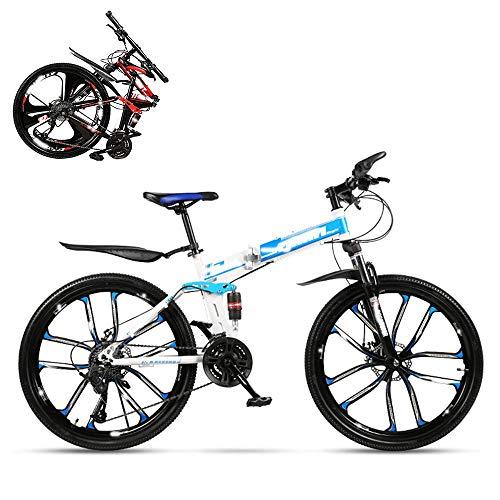 Bicicleta plegable para adultos, carreras todoterreno con choque hidráulico de 26 pulgadas, horquilla en forma de U con cerradura, doble absorción de impactos, velocidad 21/24/27/30, regalo incluido
