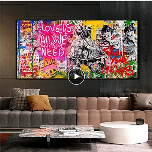 GZCJHP Cuadro sobre lienzo de 60 x 90 cm, sin marco, arte de pared, arte mural, arte de grafiti, arte callejero
