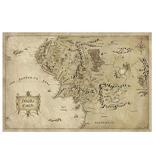 Gigoo Mapa de la Tierra Media Mapa de Arte Carteles de Pared impresión para decoración del hogar Impresiones en Lienzo Pinturas Arte de Pared Impresión en Lienzo 60x80cm sin Marco