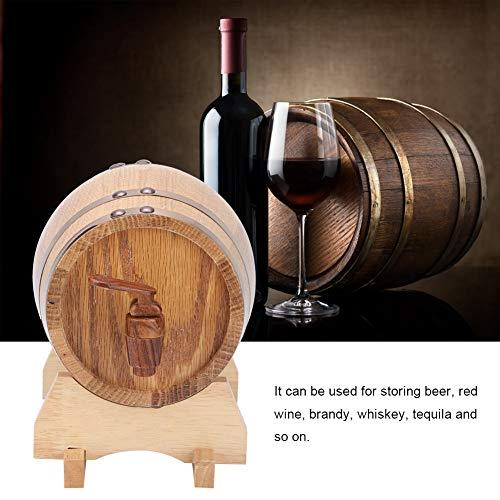 Home Weinfass, 1L Mini tragbare Haushalts Eiche Holz Weinfass Fass Heimbrauanlage(1L-Goldreifen)