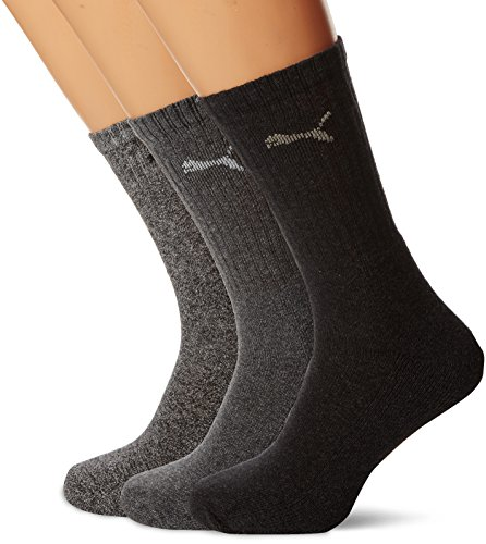 PUMA Unisex Crew Socks Socken Sportsocken MIT FROTTEESOHLE 18er Pack (Anthracite, 43-46)