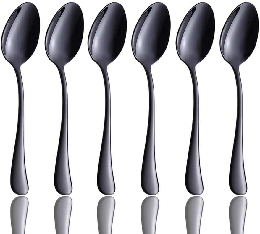 San Diego Mall Black 6 Piece Coffee Max 88% OFF Spoon Steel Teaspoon 5-inch Stainless Flatw