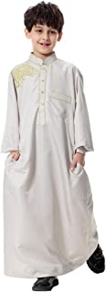 Boy's Muslim Embroidery Thobe Long Sleeves Mandarin Neck