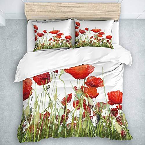 LOSUMIGE Bedding Juego de Funda de Edredón - Juego de sábanas con Estampado de Flores de Amapola pintadas a Mano - Microfibra Funda de Nórdico y Fundas de Almohada - (Cama 240 x 260cm)
