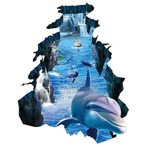 PMSMT Nuevas Pegatinas de Pared 3D Dolphin Pared Rota Visual protección del Medio Ambiente Impermeable Antideslizante Sala de Estar Dormitorio Pegatinas de Suelo