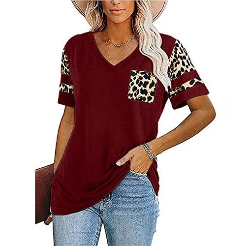 MARTINSHARK Camiseta de verano para mujer, con estampado de leopardo, manga corta, cuello en V, informal, elástica, plisada, de un solo color, opaca Vino XL