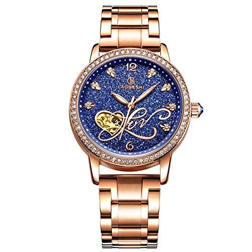 RORIOS Fashion Mujer Relojes de Pulsera Mecánico Automático Brillante Cielo Estrellado Dial Acero Inoxidable Correa Relojes de Mujer