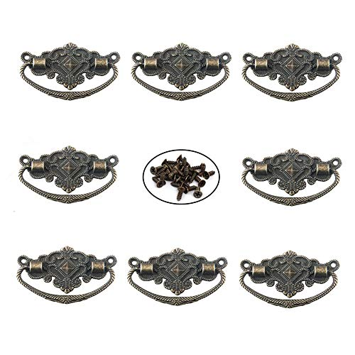 Qiying 8 Pack Metal Antique Style Box Cabinet Drawer Door Retro Style Pull Handle Knob Bronze Tone 2.9' x 1.8'