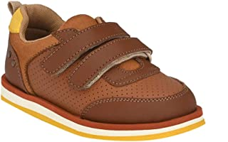 Hopscotch Tuskey Shoes Leather  Genuine Leather Sneaker for Boys - Tan