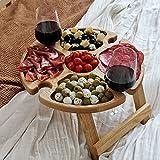 ZYLLZY Mesa de picnic plegable de madera al aire libre...