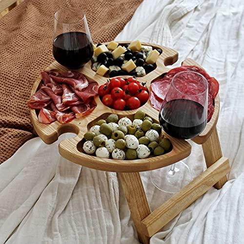 ZYLLZY Mesa de picnic plegable de madera al aire libre con soporte de copa de vino tinto, plato compartimental portátil para queso y frutas, mesa plegable para viajes jardín pequeña mesa de playa
