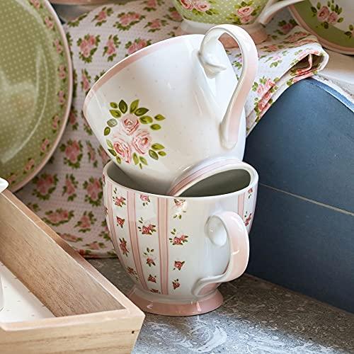 Taza Mug, Taza de Porcelana, Taza Desayuno, Taza de Café Romántico Rústico Shabby Chic - Floral - 10x15 - Blanco/Rosa Polvo