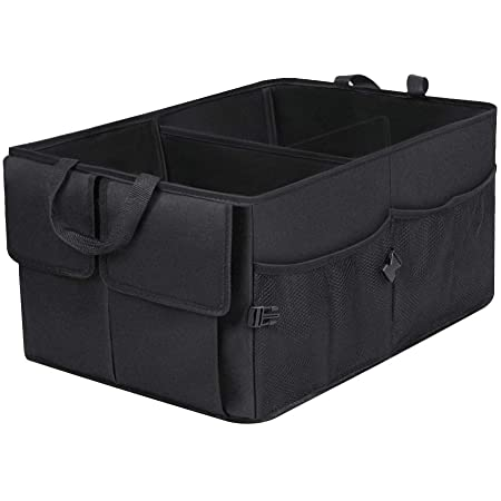 Car Trunk Organizer, Trunk Organizer for SUV, 8 Pocket Backseat Trunk Organizer, Waterproof, Dust-proof, Durable Foldable Cargo Net Storage for More Trunk Space with Adjustable Straps, Black