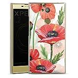 DeinDesign Hard Hülle kompatibel mit Sony Xperia L2 Schutzhülle transparent Smartphone Backcover Mohnblume Wasserfarbe Blumen