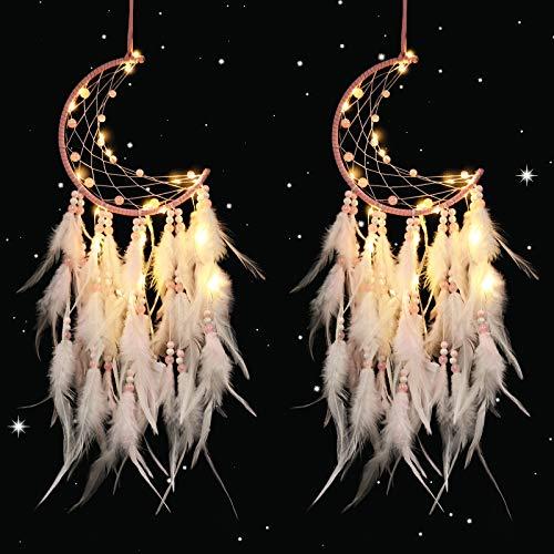ABC life 2 Stück Traumfänger mit LED Licht Handgefertigt Dreamcatcher mit Federn Böhmen Dekoration für Schlafzimmer Hochzeit Wandbehang Ornament Mädchen Kinder Geschenk (Rosa)