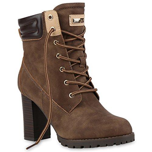 Damen Schnürstiefeletten Stiefeletten Worker Boots Wildleder-OptikHalbhohe Stiefel Schnürer Wildleder-Optik Schuhe 122665 Khaki 36 Flandell