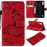 Cmeka 3D Butterfly Wallet Case for Samsung Galaxy A20 / Galaxy A30 with Credit Card Slots Holder Magnetic Closure Slim Flip Leather Kickstand Function Protective Case Red