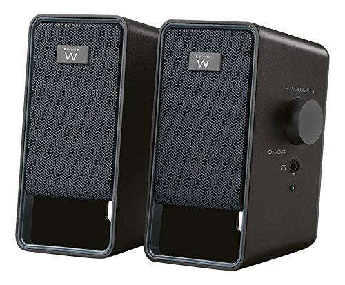 Ewent EW3504 PC Lautsprecher 3,5 mm Klinke, AC angetrieben, 6 W, aktive Boxen für Computer, Laptop, Notebook, Smartphone, Tablet Schwarz